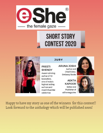 Proud to have won the eShe short story fiction contest